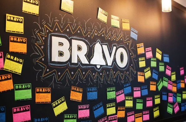 bravo written on a chalkboard and surrounded by post it notes