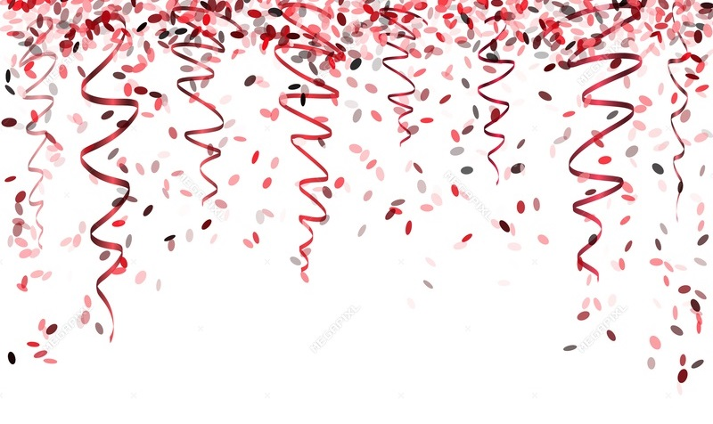 white background with red confetti