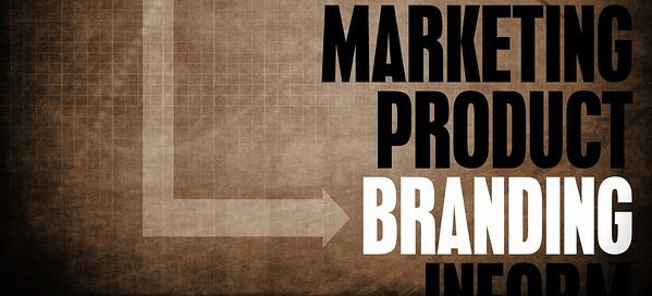 brown background with writing: marketing, product, branding