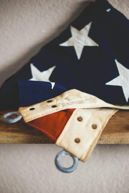 american flag folded up