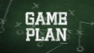 gameplan written on a chalkboard