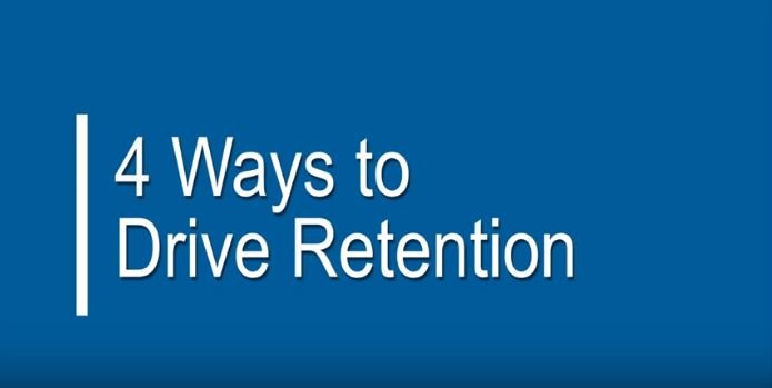 text on blue background: 4 ways to drive retention
