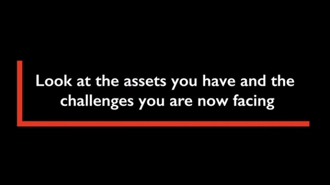text on a black background: look at the assets you have and the challenges you are now facing