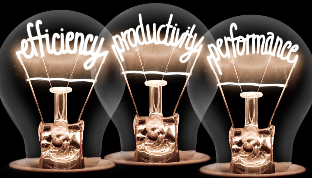 lightbulbs with words inside: efficiency, productivity, and performance