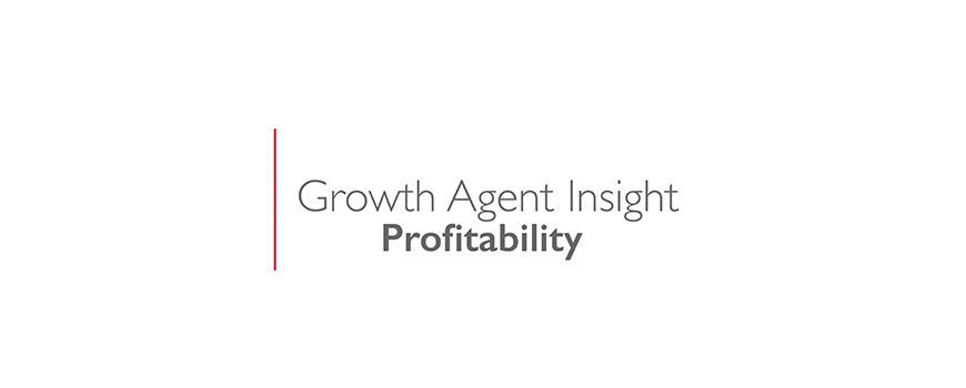 text on a white background: growth agent insight, profitability