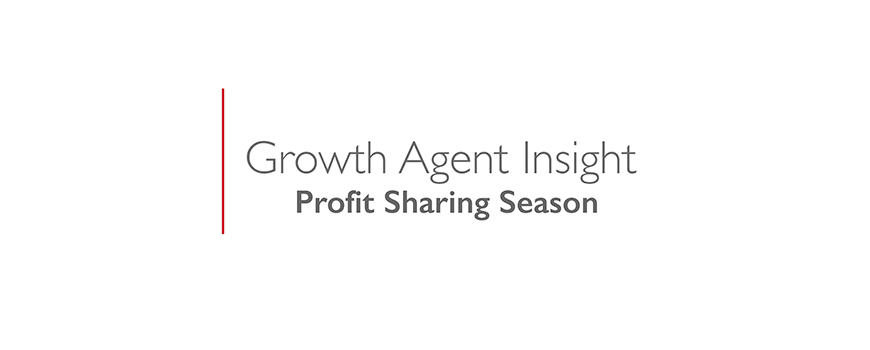 text on a white background: growth agent insight, profit sharing season