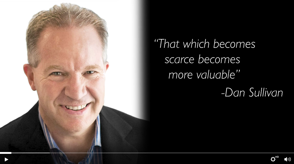 headshot with quote: that which becomes scarce becomes more valuable