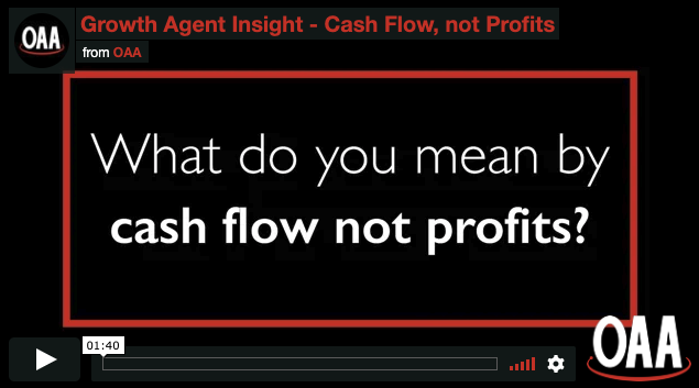 black background with a red border and text: what do you mean by cash flow not profits?