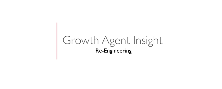 text on a white background: growth agent insight, re-engineering