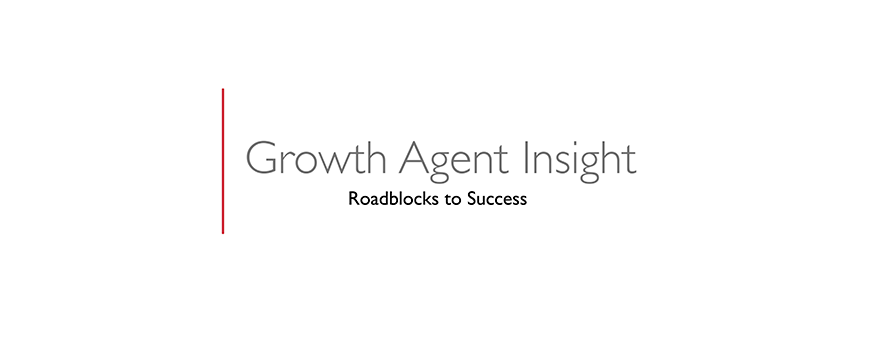 text on a white background: growth agent insight, roadblocks to success